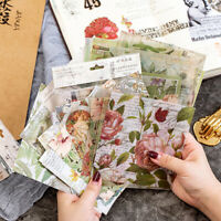 15Pcs Vintage Flower Vellum Paper Sticker Self-adhesive Scrapbooking DIY Craft
