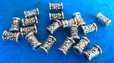 10 Antique Silver Tibetan Flower Carved Column Spacer Beads  Metal Charm
