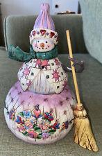 "Jim Shore Winter'S Warmth 8.5"" Snowman Figurine 112249 Flowers Christmas 2003"