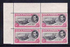 ASCENSION GVI 1938 SG40e 11/2d black & carmine corner block of 4 u/m. Cat £48