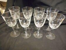 """Vintage Set of 8 Wine Water Goblets Cut Leaf Design 7"""" High"""