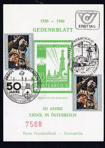 Gedenkblatt 50 Jahre Erdöl in Österreich mit Marken und Ersttagsstempel