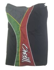 Vintage Oneill Mens Boardshorts 30 Black Green Red Swim Trunks Surf Beach Rasta