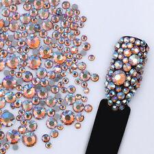 5.5g Champagne Rhinestone 3D Nail Decoration Multi-size Flat Bottom Manicure