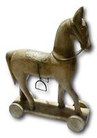 Decoration Trojan horse wooden deco vintage retro statue mango wood sculpture