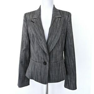 NWOT Herve Leger Paris Womens Grey Wool Peak-Lapel Peplum Blazer Jacket Size 4