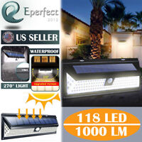 118LED Solar Lights PIR Motion Sensor Wall Lamps Outdoor Waterproof Light Garden