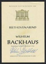 Willhelm BACKHAUS (Pianist): Signed Program