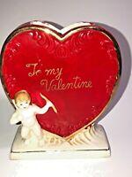 Vintage Valentine's Day Heart Shaped Ceramic Planter / Flower Vase    See Pics!