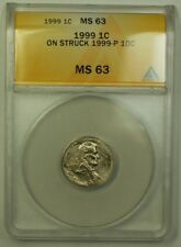 1999 Error Coin Lincoln Memorial Penny 1c Struck on 1999-P Dime ANACS MS-63
