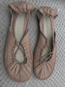 Clarks PINK LEATHER Moccasin / Ballet Pumps Flat UK 6.5 Elastic