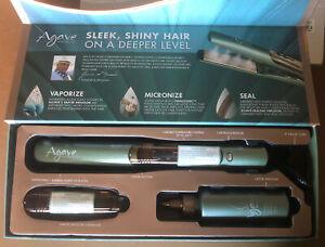Agave Healing Vapor 1.25 inch Flat Iron + 4oz Bottle Infusion Oil + 2ndCartridge