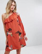 French Connection Delphine Floral Print One Shoulder Dress, Copper Coin UK 8 £85