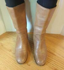 Tan Brown PRADA Leather Women Boots 36.5 6