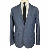 J Crew Sport Coat Medium Blue Gray Jacket Blazer 100% Cotton Unstructured 2 Btn