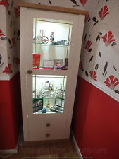 BUCKINGHAM PAINTED 1 DOOR DISPLAY CABINET- SOLID OAK TOP- BESPOKE- IVORY