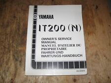 1985 YAMAHA IT 200 N  OWNERS SERVICE MANUAL ENGLISH/FRENCH  43G-28199-80