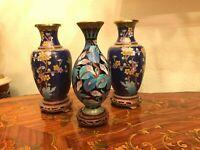 Beautiful 3 Vintage Chinese Cloisonne Vases Floral Natural Decor