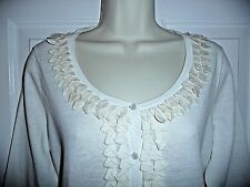 Talbots Sweater Cardigan M NWT Off White Button Down Linen Cotton Stunning Front