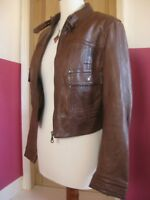 Ladies NEXT brown real leather cropped short fitted JACKET size UK 12 10 biker