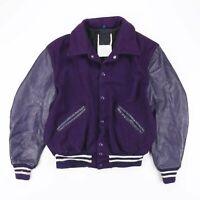 Vintage Made In USA Wool Mix Purple College Varsity Jacket Women's Size Medium