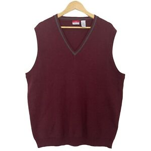 LL Bean Traveler Men's Burgundy Red 100% Wool Sweater Vest Gilet Size Large