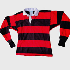 Vintage Land's End Authentic Rugby Shirt Striped Black Red Made in USA Mens Med