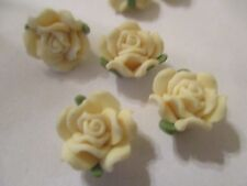 60  Yellow 12  mm Fimo Flower Beads  E56