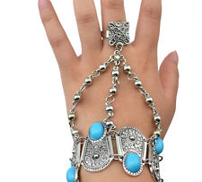 Boho Gypsy Silver Coin Charms Slave Bracelets Floral Blue Gem  Ethnic Tribal