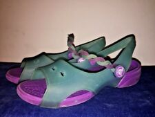 CROCS Mary Janes Sandals ISABELLA Strappy Jelly Purple Aqua Girls Shoes Sz 12