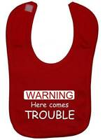 Here Comes Trouble Baby Feeding Bib NB-3yrs Boy Girl Gift Touch Fastener Funny