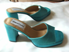 new in box Newport News silk dressy aquamarine platform slide shoes 5.5 m
