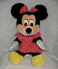 "16"" WALT DISNEY WORLD VINTAGE MINNIE MOUSE STUFFED ANIMAL PLUSH TOY RED 1980's"