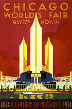 ART DECO VINTAGE PRINT STYLE WALL DECOR poster painting Chicago World Fair