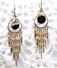 Bohemian Boho Hippie Chandelier Earrings Bamboo Beads Onyx Stone Festival 8368-O