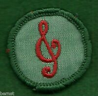 GIRL SCOUT BADGE - CHEESECLOTH BACK - MUSICIAN - FREE SHIPPING