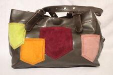 """MATT & NAT Montreal, Brown Faux Leather, Multi-Color """"Pocket"""" Shoulder Bag-B40"""
