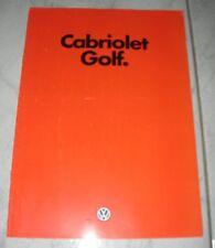 catalogue brochure Golf Cabriolet Série1 mod1994