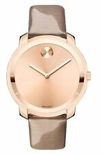 New Movado Bold Rose Gold Tone on Leather Women's Watch 3600313