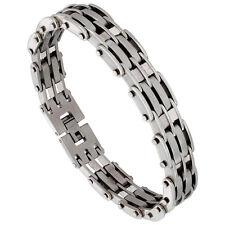 Stainless Steel Satin Finish Bar Link Bracelet