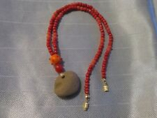 NATIVE MADE Short Necklace Rust Glass &  Lucite Beads SLATE PENDANT Indian