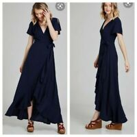 ALTAR'D STATE Women's Springvale Maxi Dress Navy Blue Size Small Wrap Ruffle S