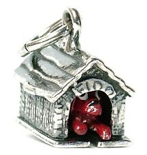VINTAGE SILVER MOVABLE DOG IN KENNEL CHARM