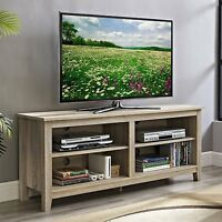 NATURAL Wood TV STAND Fits 60-Inch TV Entertainment Console Media Flat Screen