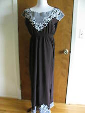 BCBG MAX AZRIA women's brown cotton embroidered dress Large New