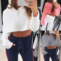 Casual Womens Girls Long Sleeve Sweatshirt Hoodie Short Jumper Pullover Blouse 9