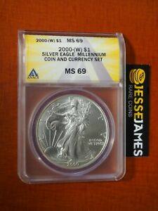 2000 (W) $1 AMERICAN SILVER EAGLE ANACS MS69 FROM MILLENNIUM COIN & CURRENCY SET
