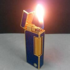 Dunhill D Mark Gold Blue Marble Enamel Lacquer Rollagas Lighter SWISS MADE