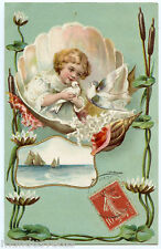CHARMANTE PETITE FILLE. COQUILLAGE. COLOMBES. SHELL. DOVES. GAUFRé. EMBOSSED.