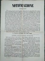 1871 BOLOGNA RARO MANIFESTO SU FESTA AL SANTUARIO DELLA VERGINE DEL SOCCORSO